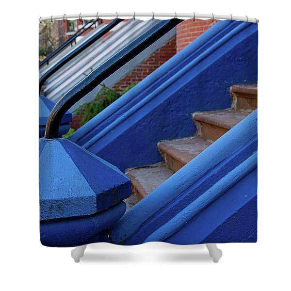 Blue Entry Shower Curtain