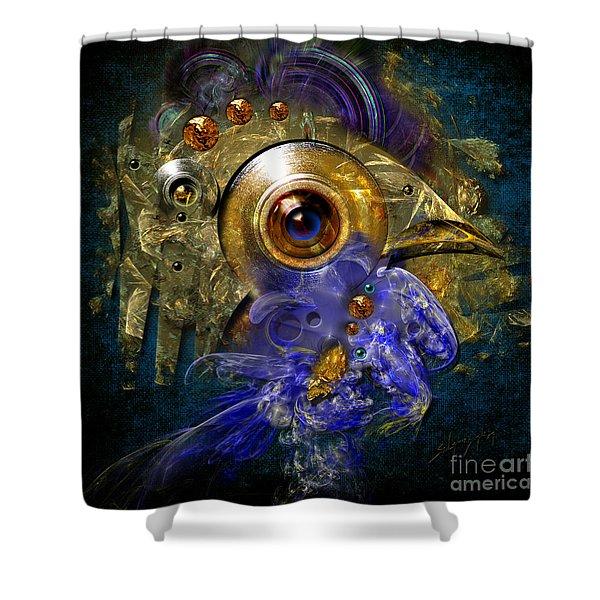 Blue Eyed Bird Shower Curtain