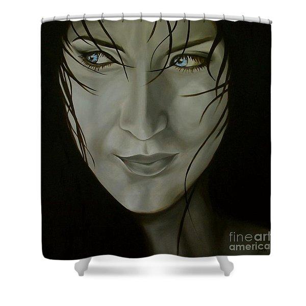 Blue-eyed Girl Shower Curtain