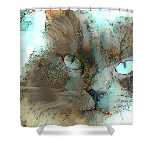 Blue Eyed Persian Cat Watercolor Shower Curtain