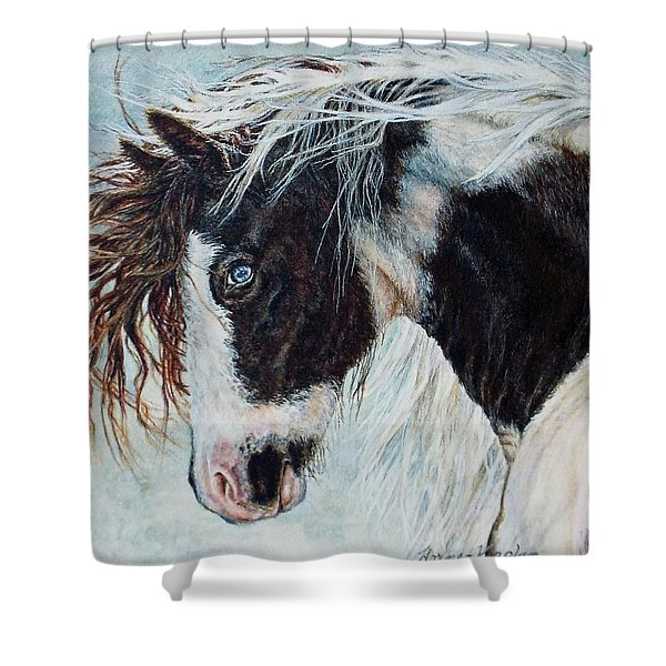 Blue Eyed Storm Shower Curtain