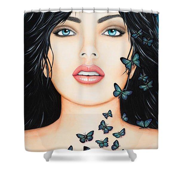 Blue Eyes And Butterflies Shower Curtain