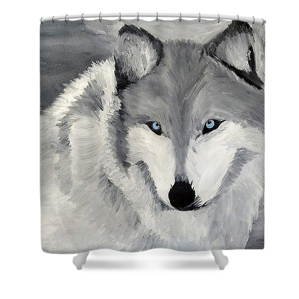 Shower Curtain featuring the painting Blue Eyes by Kevin Daly