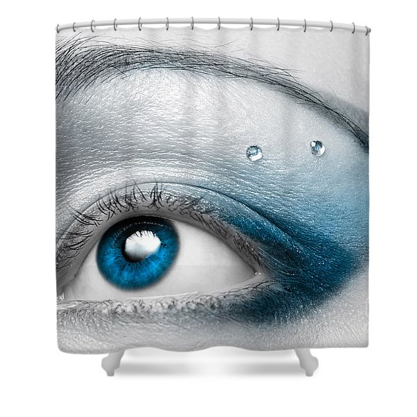 Blue Female Eye Macro With Artistic Make-up Shower Curtain