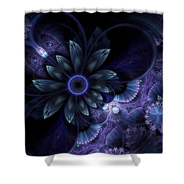 Blue Fleur And Lace Shower Curtain