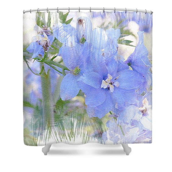 Blue Flower Fantasy Shower Curtain