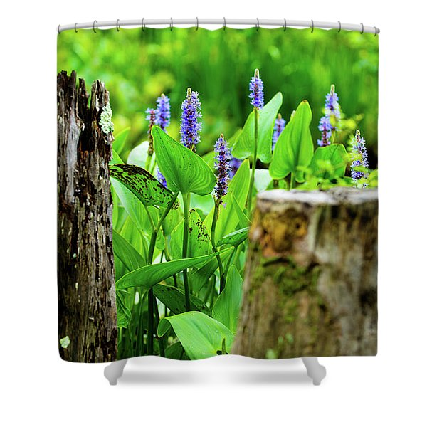 Blue Flowers And Artistic Logs Shower Curtain