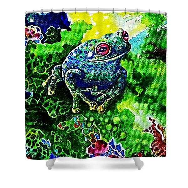 Blue  Frog Shower Curtain