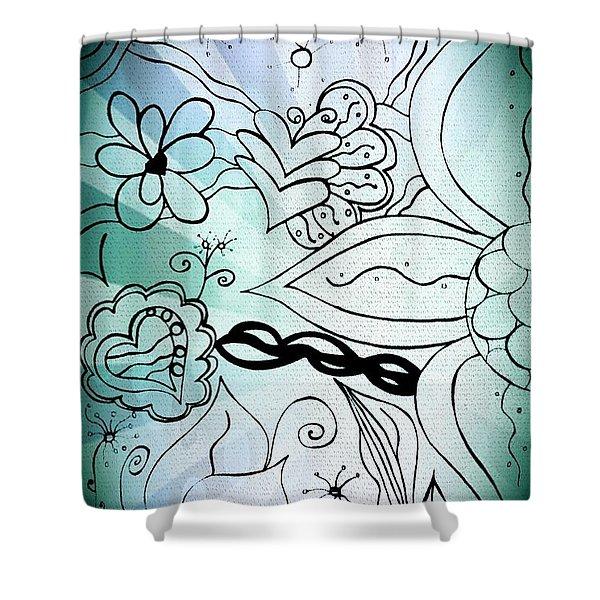 Blue Funky Flower Doodles Shower Curtain
