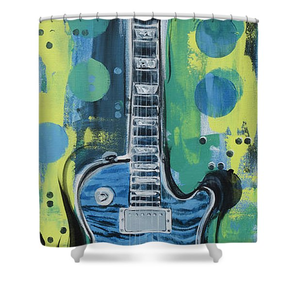Blue Gibson Guitar Shower Curtain