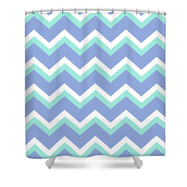 Blue Green Chevron Pattern Shower Curtain