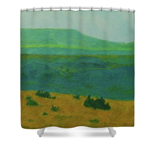 Shower Curtain featuring the painting Blue-green Dakota Dream, 2 by Cris Fulton