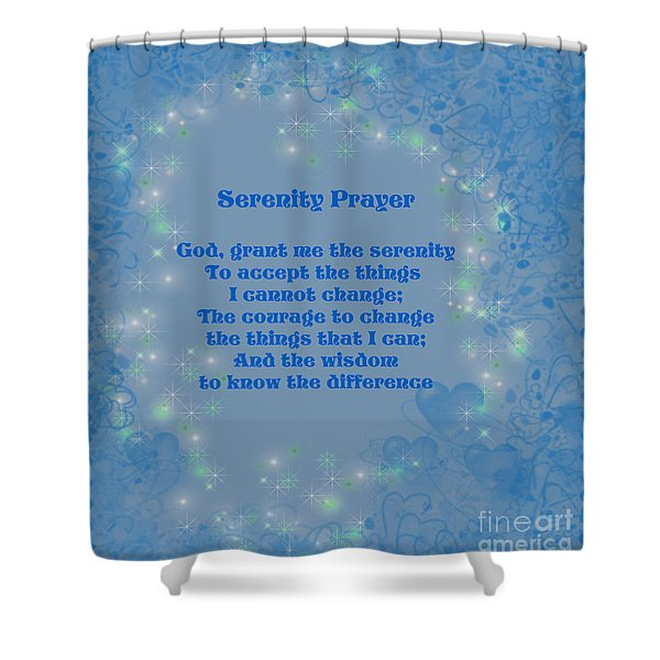 Blue Hearts Serenity Prayer Shower Curtain