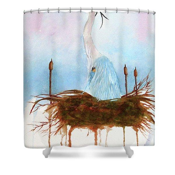 Blue Heron Nesting Shower Curtain