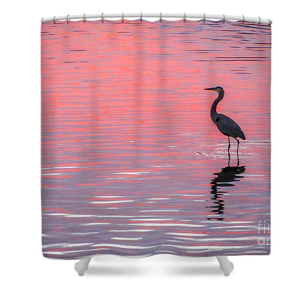 Shower Curtain featuring the photograph Blue Heron - Pink Water by Tom Claud