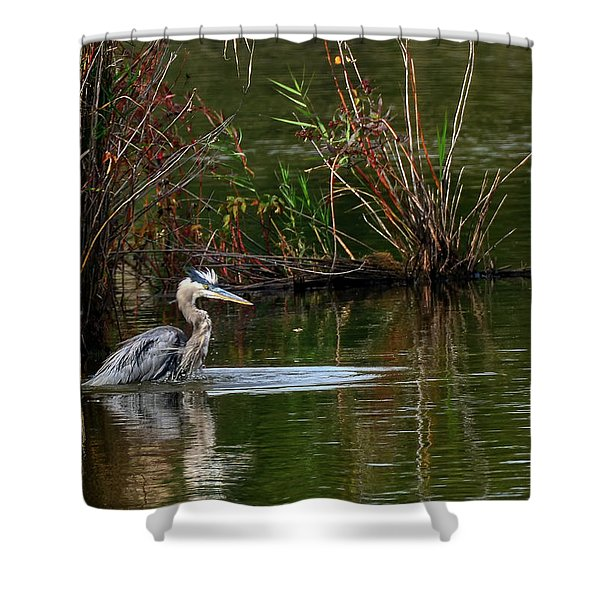 Blue Heron Pond Shower Curtain