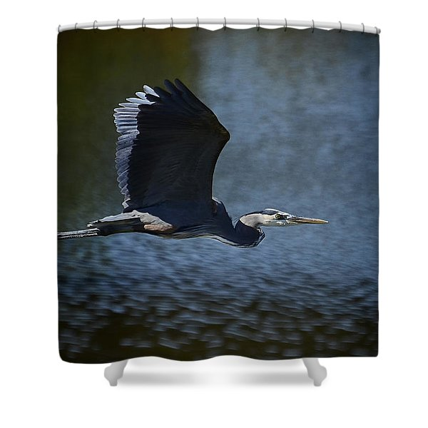 Blue Heron Skies  Shower Curtain