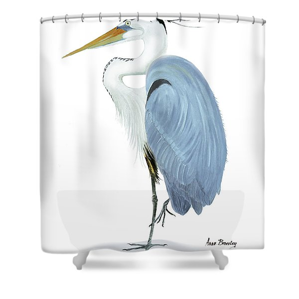 Blue Heron With No Background Shower Curtain