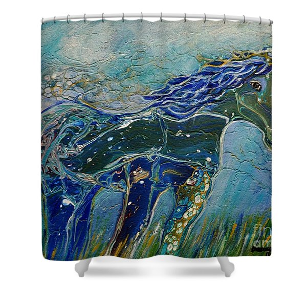 Shower Curtain featuring the painting Blue Horse by Deborah Nell