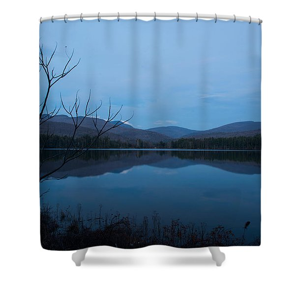 Shower Curtain featuring the photograph Blue Hour At Cooper Lake by Nancy De Flon