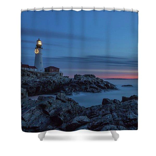 Blue Hour At Portland Head Light Shower Curtain