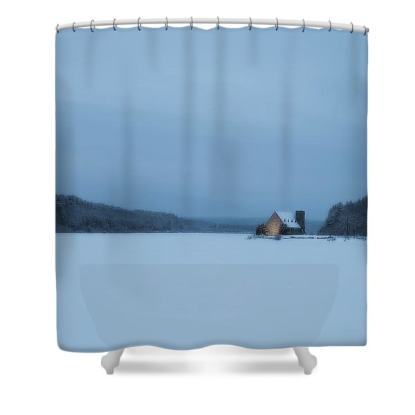 Blue Hour At The Old Stone Church Shower Curtain