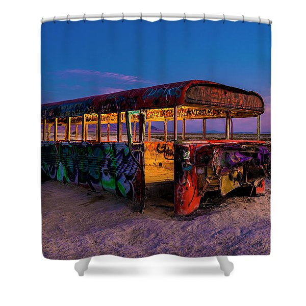 Blue Hour Bus Shower Curtain