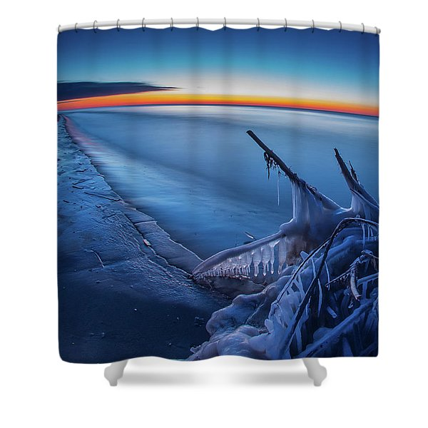 Blue Hour Fisheye Shower Curtain