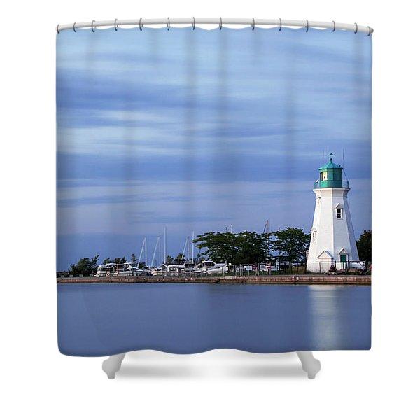 Blue Hour Lighthouse Shower Curtain