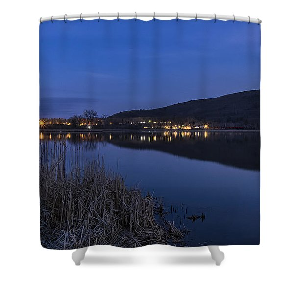 Shower Curtain featuring the photograph Blue Hour Retreat Meadows by Tom Singleton