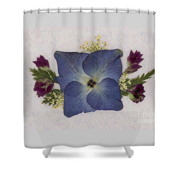 Blue Hydrangea Pressed Floral Design Shower Curtain