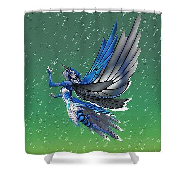 Blue Jay Fairy Shower Curtain