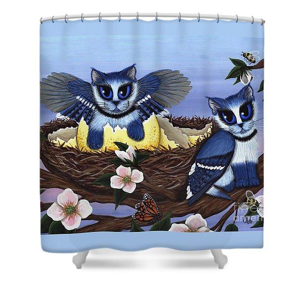 Blue Jay Kittens Shower Curtain
