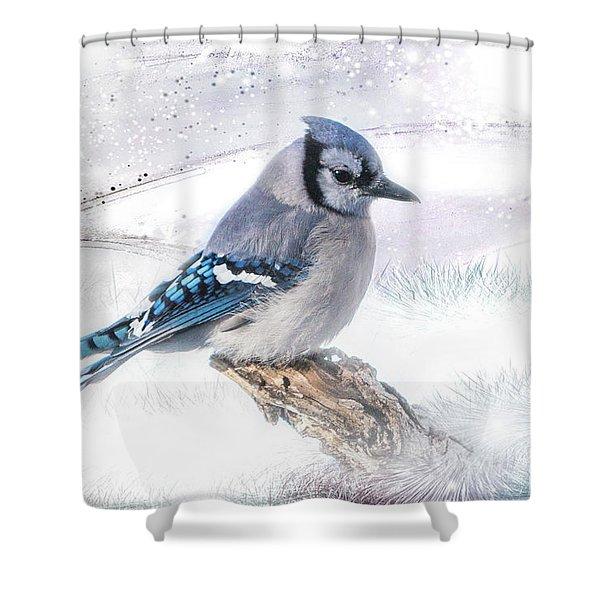 Blue Jay Snow Shower Curtain