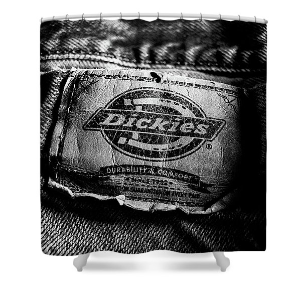 Blue Jeans Logo Tag Close-up Detail Bw Shower Curtain