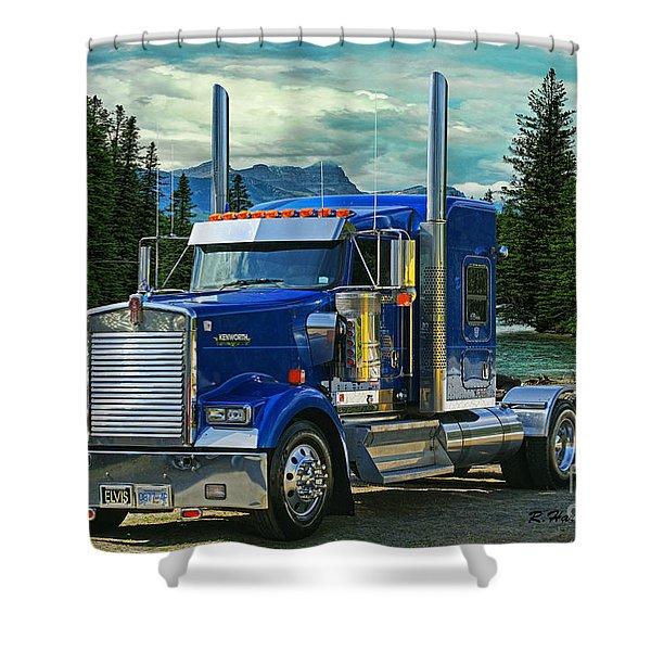 Blue Kenworth At Banff Shower Curtain