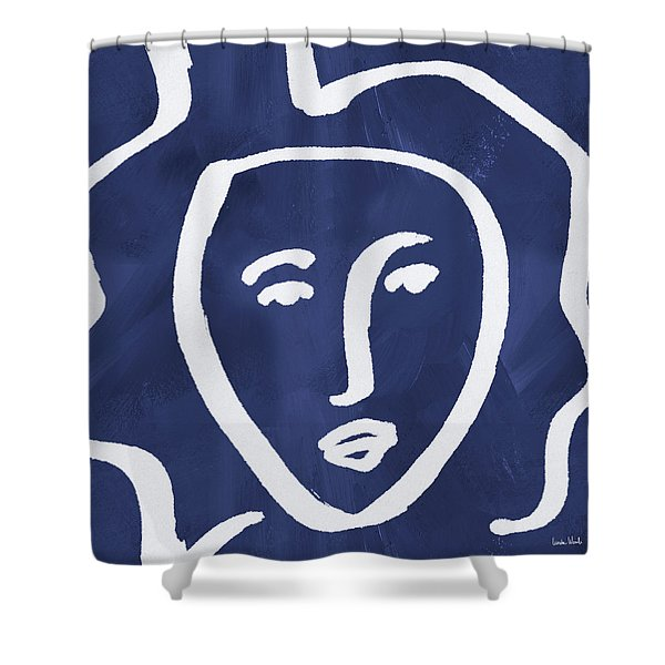 Blue Lady- Art By Linda Woods Shower Curtain