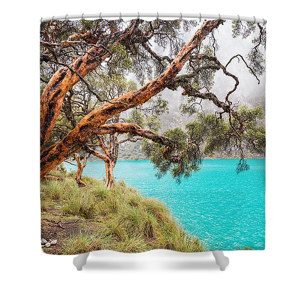 Blue Lake In The Cordillera Blanca Shower Curtain