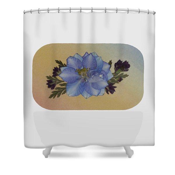 Blue Larkspur And Oregano Pressed Flower Arrangement Shower Curtain