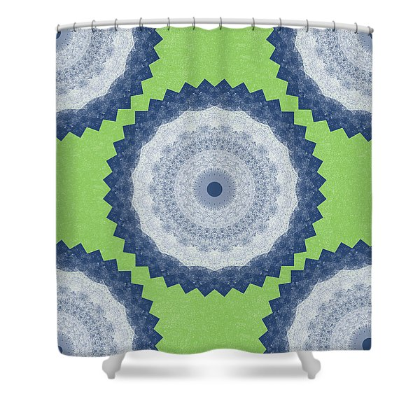 Blue Mandala- Art By Linda Woods Shower Curtain