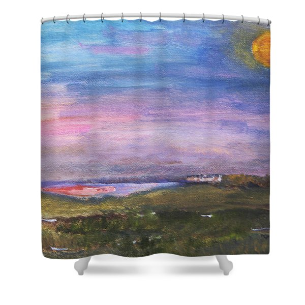 Blue Moon Over The Marsh Shower Curtain