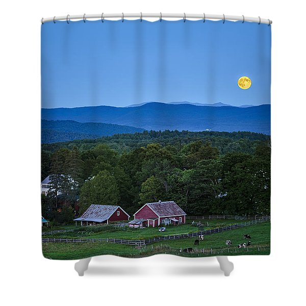 Blue Moon Rising Shower Curtain