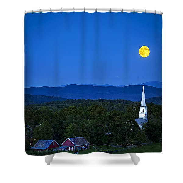 Blue Moon Rising Over Church Steeple Shower Curtain
