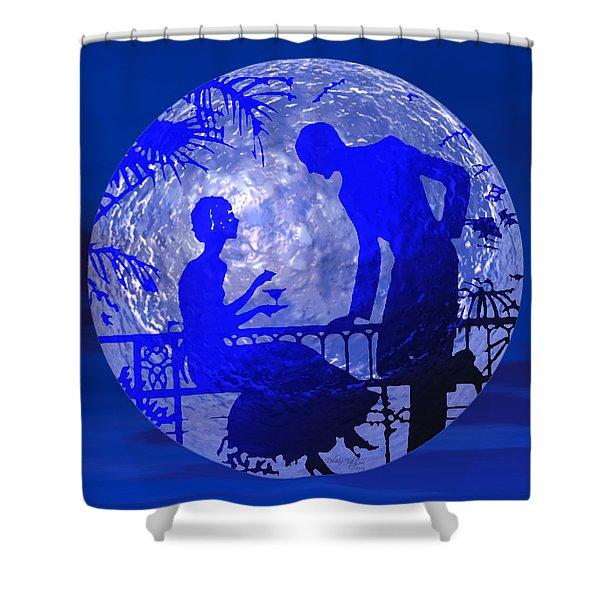 Shower Curtain featuring the digital art Blue Moonlight Lovers by Deleas Kilgore