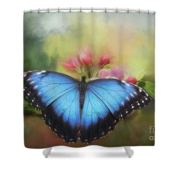 Blue Morpho On A Blossom Shower Curtain