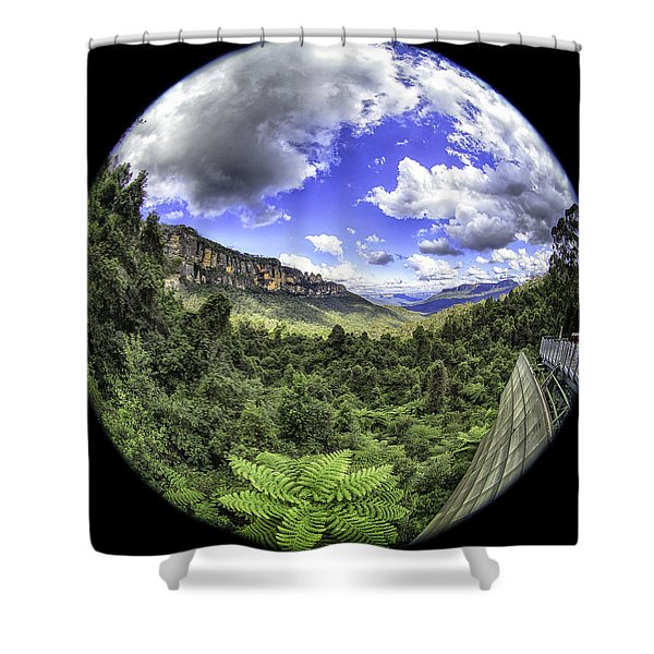 Blue Mountains Fisheye Shower Curtain