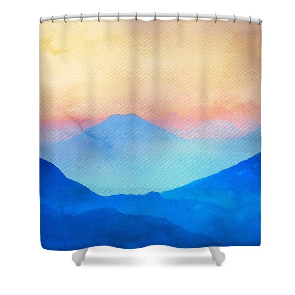 Blue Mountains Watercolour Shower Curtain