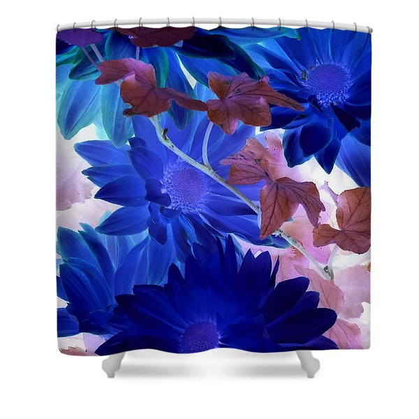 Blue Mums With Purple Ivy Shower Curtain