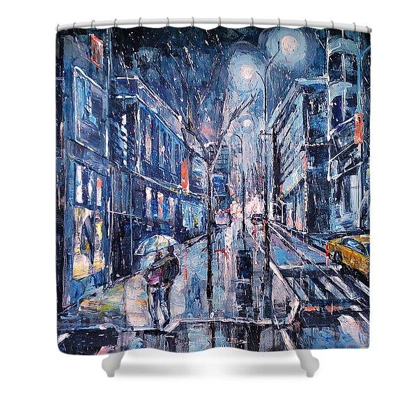 Blue Night II Shower Curtain