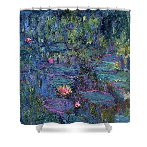 Blue Nympheas Shower Curtain